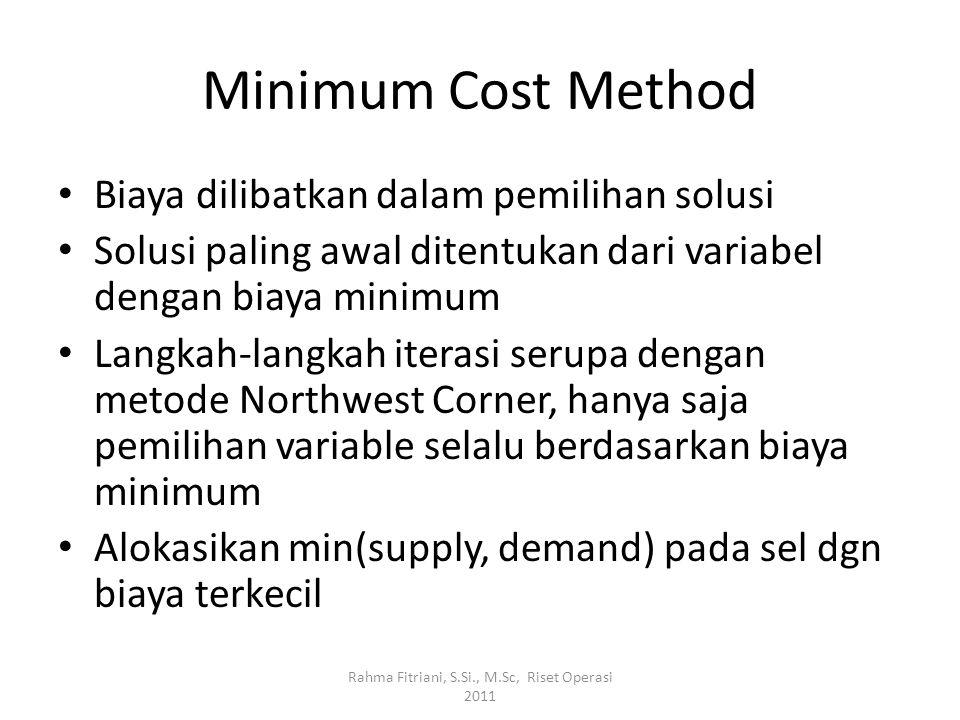 Minimum Cost Method Biaya dilibatkan dalam pemilihan solusi Solusi paling awal ditentukan dari variabel dengan biaya minimum Langkah-langkah iterasi s