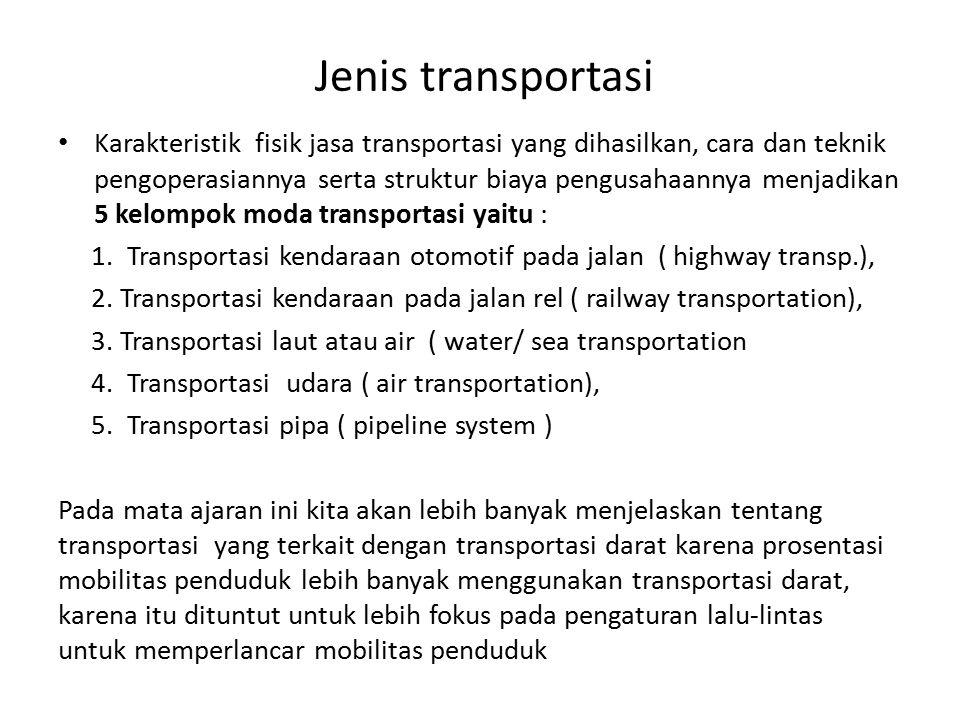 Jenis transportasi Karakteristik fisik jasa transportasi yang dihasilkan, cara dan teknik pengoperasiannya serta struktur biaya pengusahaannya menjadi
