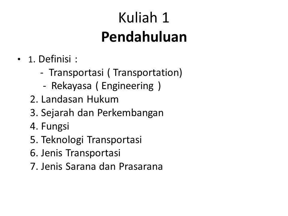Kuliah 1 Pendahuluan 1. Definisi : - Transportasi ( Transportation) - Rekayasa ( Engineering ) 2. Landasan Hukum 3. Sejarah dan Perkembangan 4. Fungsi