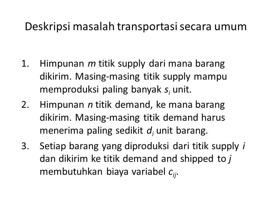 Deskripsi masalah transportasi secara umum 1.Himpunan m titik supply dari mana barang dikirim. Masing-masing titik supply mampu memproduksi paling ban