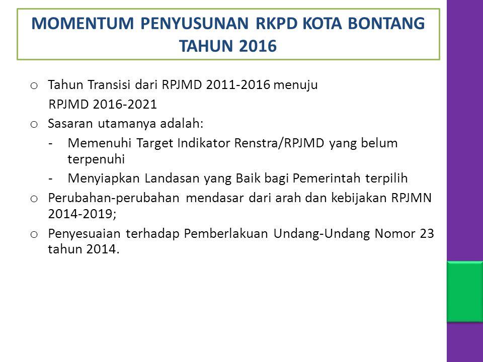 o Tahun Transisi dari RPJMD 2011-2016 menuju RPJMD 2016-2021 o Sasaran utamanya adalah: -Memenuhi Target Indikator Renstra/RPJMD yang belum terpenuhi -Menyiapkan Landasan yang Baik bagi Pemerintah terpilih o Perubahan-perubahan mendasar dari arah dan kebijakan RPJMN 2014-2019; o Penyesuaian terhadap Pemberlakuan Undang-Undang Nomor 23 tahun 2014.