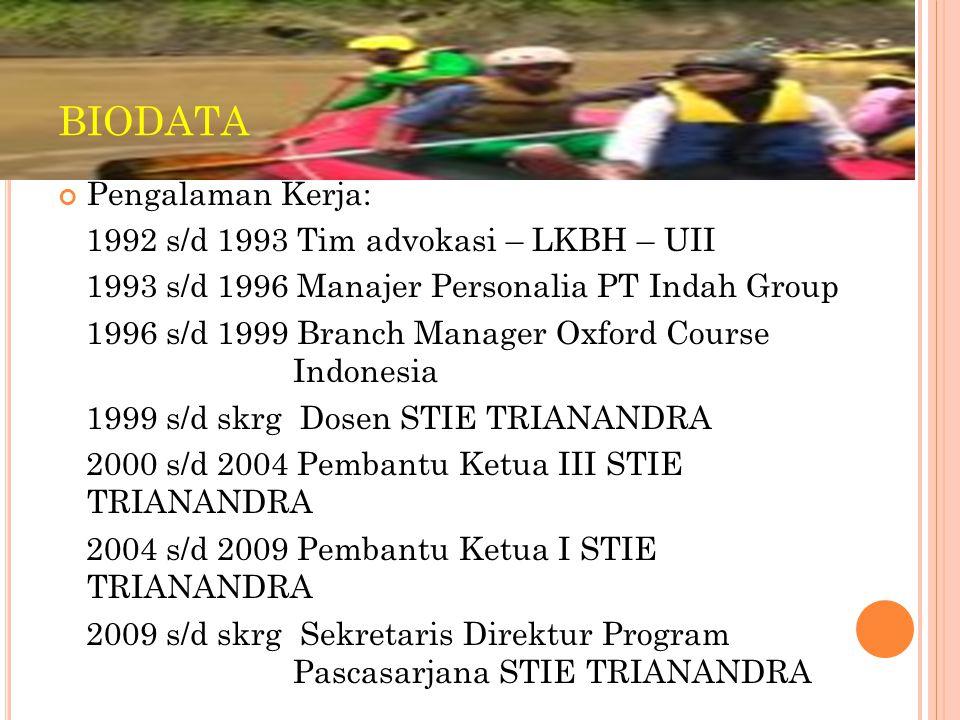 Pengalaman Kerja: 1992 s/d 1993 Tim advokasi – LKBH – UII 1993 s/d 1996 Manajer Personalia PT Indah Group 1996 s/d 1999 Branch Manager Oxford Course I