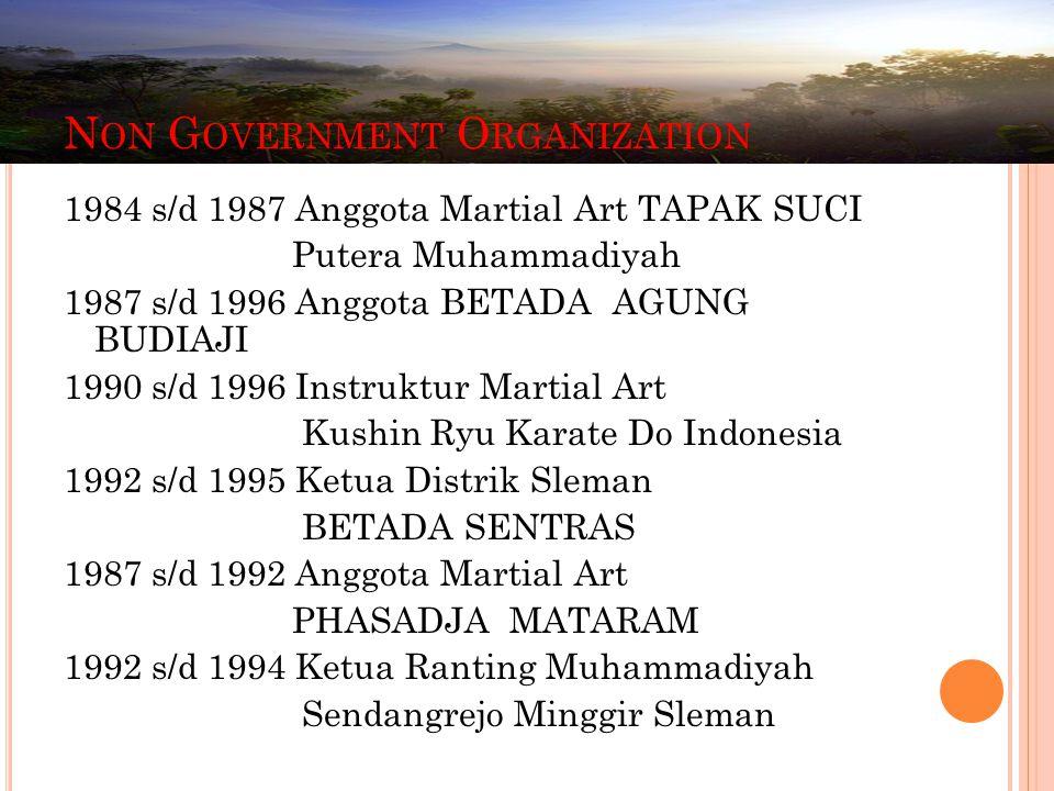 1984 s/d 1987 Anggota Martial Art TAPAK SUCI Putera Muhammadiyah 1987 s/d 1996 Anggota BETADA AGUNG BUDIAJI 1990 s/d 1996 Instruktur Martial Art Kushi