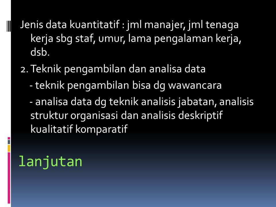 lanjutan Jenis data kuantitatif : jml manajer, jml tenaga kerja sbg staf, umur, lama pengalaman kerja, dsb.