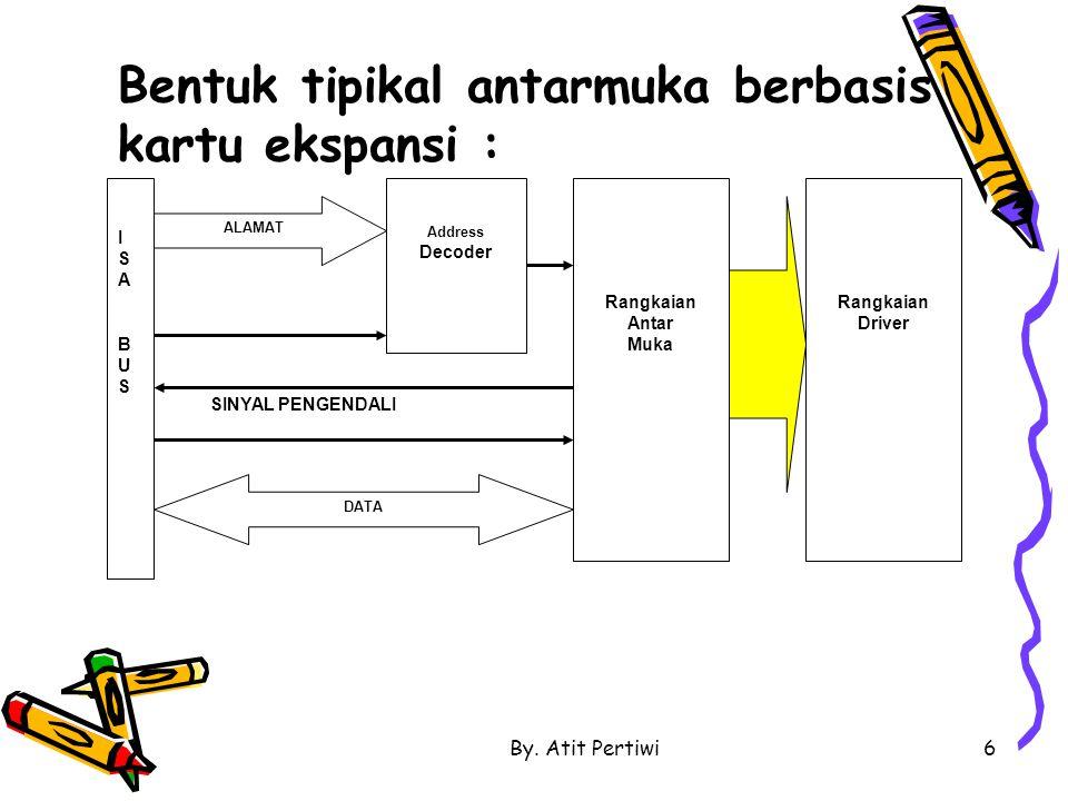 By. Atit Pertiwi6 Bentuk tipikal antarmuka berbasis kartu ekspansi : ISABUSISABUS ALAMAT DATA Address Decoder Rangkaian Antar Muka Rangkaian Driver SI