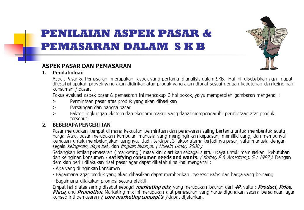 PENILAIAN ASPEK PASAR & PEMASARAN DALAM S K B ASPEK PASAR DAN PEMASARAN 1.