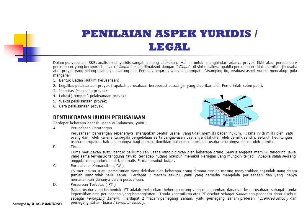 PENILAIAN ASPEK YURIDIS / LEGAL Dalam penyusunan SKB, analisis sisi yuridis sangat penting dilakukan. Hal ini untuk menghindari adanya proyek fiktif a