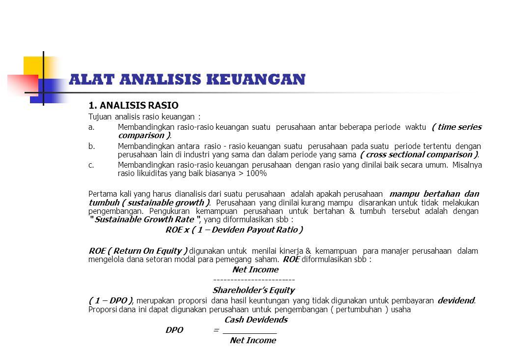 ALAT ANALISIS KEUANGAN 1.ANALISIS RASIO Tujuan analisis rasio keuangan : a.