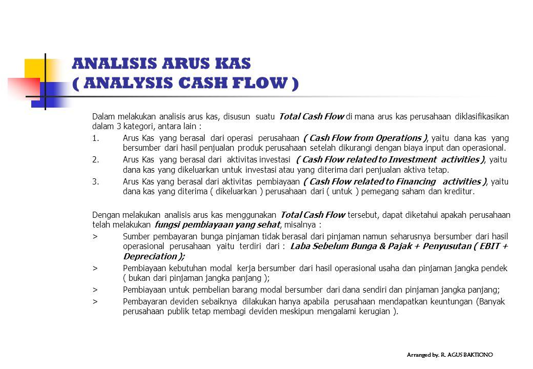 ANALISIS ARUS KAS ( ANALYSIS CASH FLOW ) Dalam melakukan analisis arus kas, disusun suatu Total Cash Flow di mana arus kas perusahaan diklasifikasikan dalam 3 kategori, antara lain : 1.