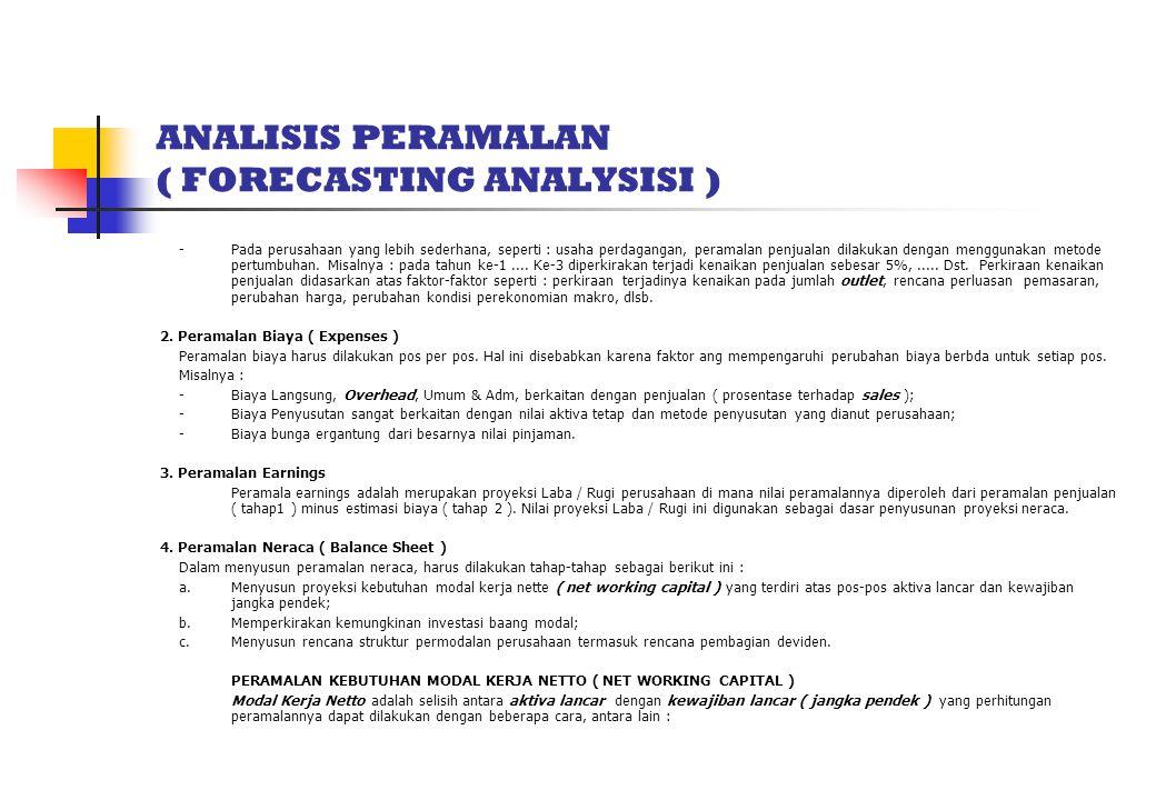 ANALISIS PERAMALAN ( FORECASTING ANALYSISI ) - Pada perusahaan yang lebih sederhana, seperti : usaha perdagangan, peramalan penjualan dilakukan dengan
