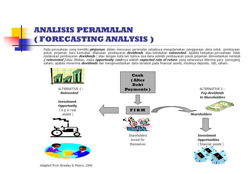 ANALISIS PERAMALAN ( FORECASTING ANALYSIS ) Pada perusahaan yang memiliki pinjaman, dalam menyusun peramalan sebaiknya mengutamakan penggunaan dana untuk pembayaan pokok pinjaman baru kemudian dilakukan pembayaran devidends atau kebutuhan reinvested.