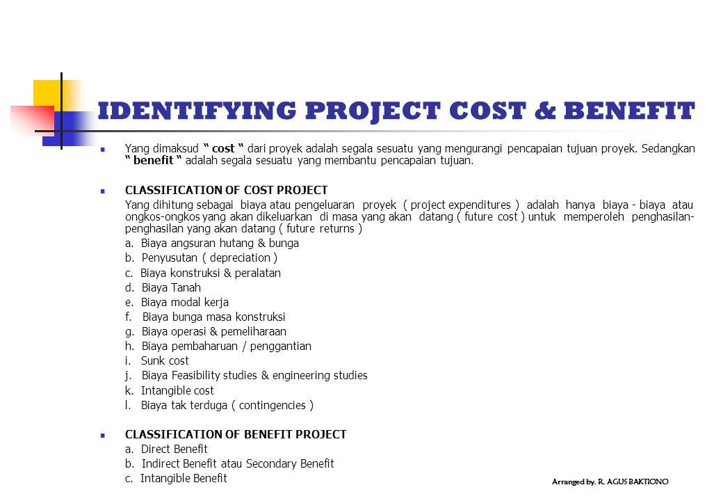 IDENTIFYING PROJECT COST & BENEFIT Yang dimaksud cost dari proyek adalah segala sesuatu yang mengurangi pencapaian tujuan proyek.