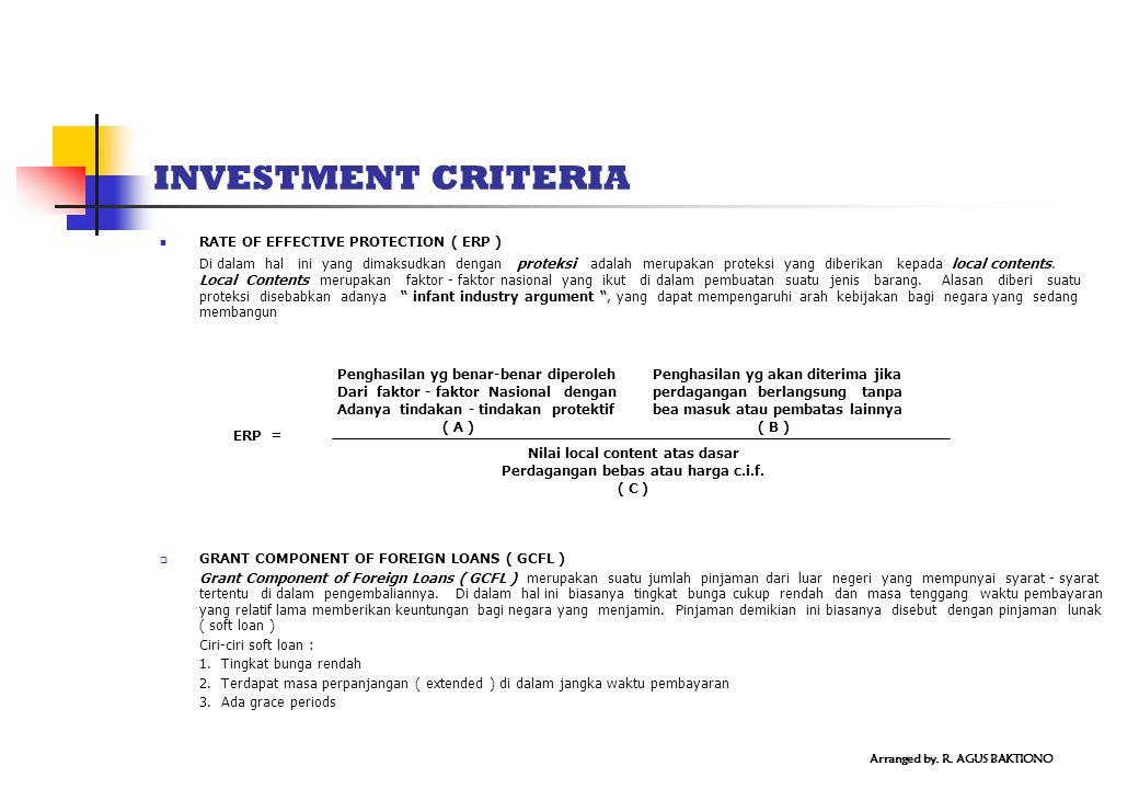 INVESTMENT CRITERIA RATE OF EFFECTIVE PROTECTION ( ERP ) Di dalam hal ini yang dimaksudkan dengan proteksi adalah merupakan proteksi yang diberikan kepada local contents.