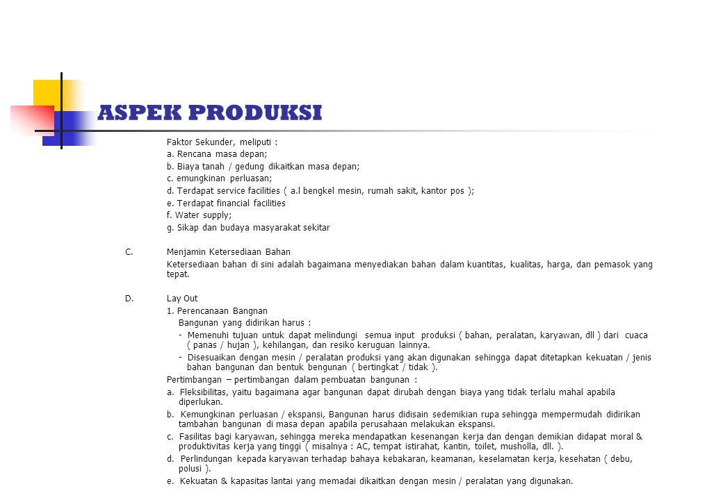 ASPEK PRODUKSI Faktor Sekunder, meliputi : a.Rencana masa depan; b.
