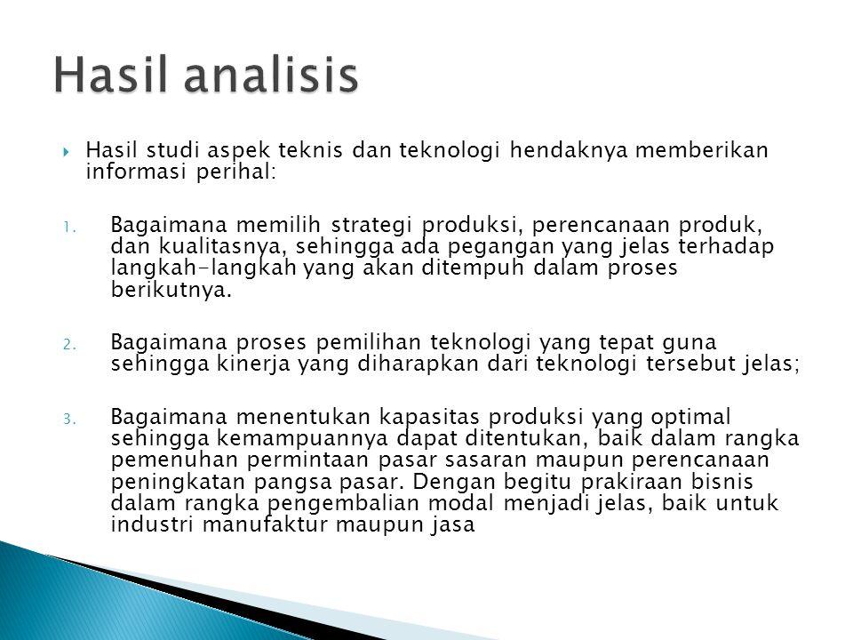  Hasil studi aspek teknis dan teknologi hendaknya memberikan informasi perihal: 1. Bagaimana memilih strategi produksi, perencanaan produk, dan kuali