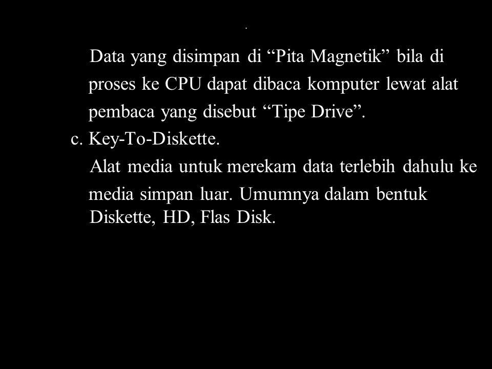 """. Data yang disimpan di """"Pita Magnetik"""" bila di proses ke CPU dapat dibaca komputer lewat alat pembaca yang disebut """"Tipe Drive"""". c. Key-To-Diskette."""