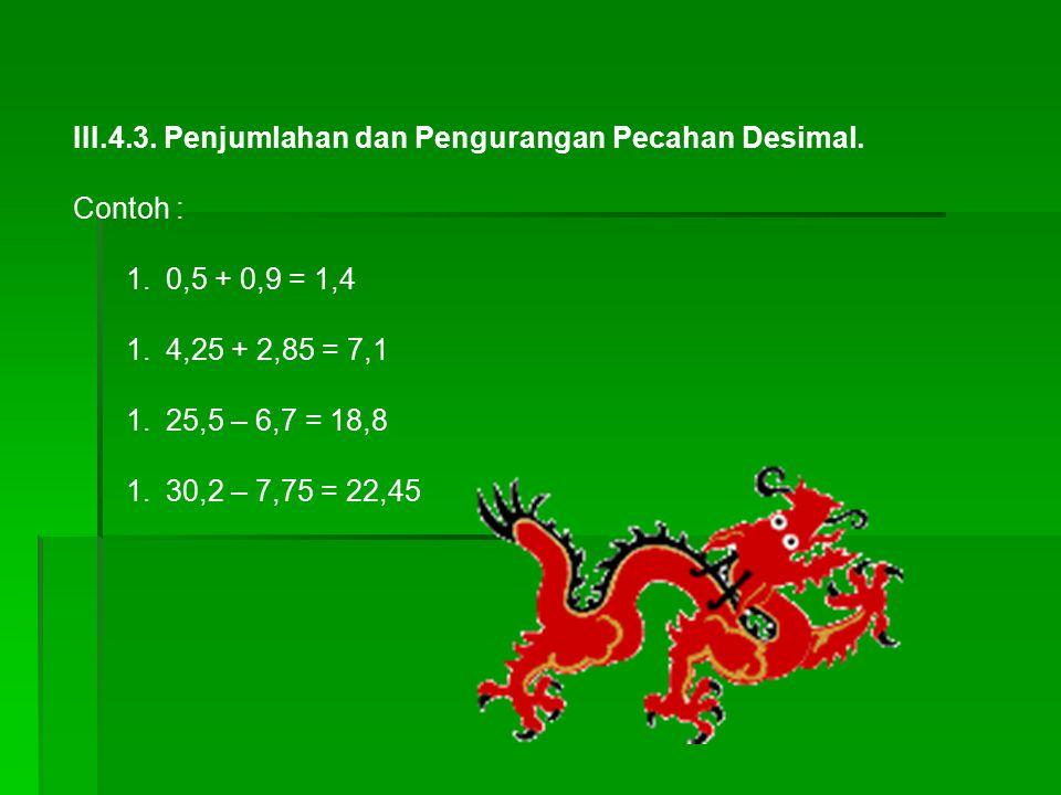 III.4.3. Penjumlahan dan Pengurangan Pecahan Desimal. Contoh : 1.0,5 + 0,9 = 1,4 1.4,25 + 2,85 = 7,1 1.25,5 – 6,7 = 18,8 1.30,2 – 7,75 = 22,45