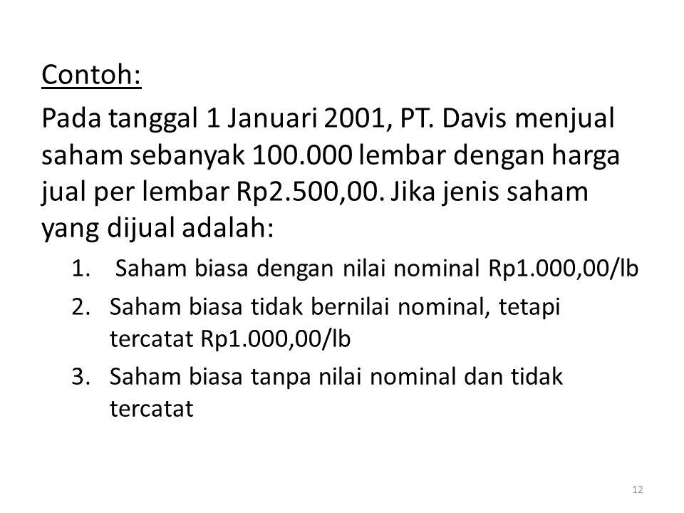 Contoh: Pada tanggal 1 Januari 2001, PT. Davis menjual saham sebanyak 100.000 lembar dengan harga jual per lembar Rp2.500,00. Jika jenis saham yang di