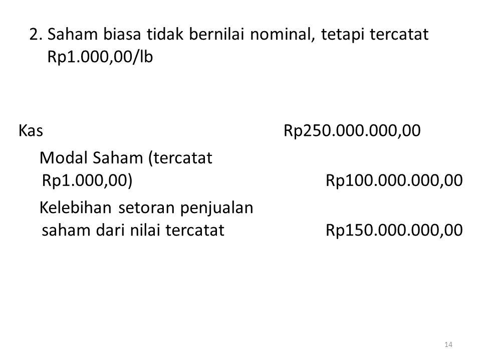 2. Saham biasa tidak bernilai nominal, tetapi tercatat Rp1.000,00/lb 14 KasRp250.000.000,00 Modal Saham (tercatat Rp1.000,00)Rp100.000.000,00 Kelebiha