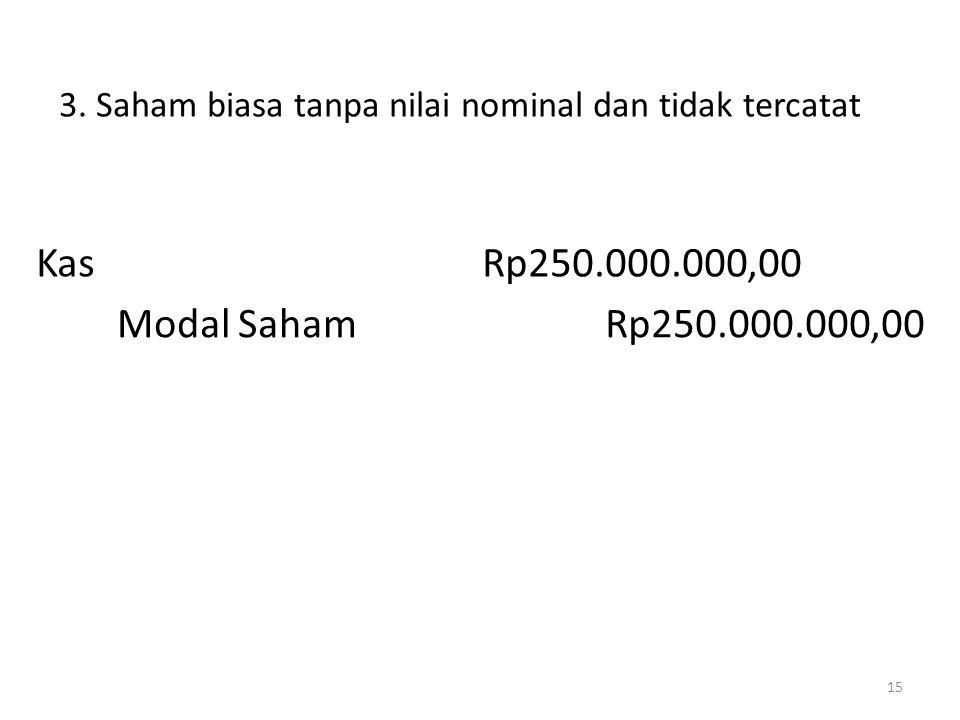 3. Saham biasa tanpa nilai nominal dan tidak tercatat 15 KasRp250.000.000,00 Modal SahamRp250.000.000,00