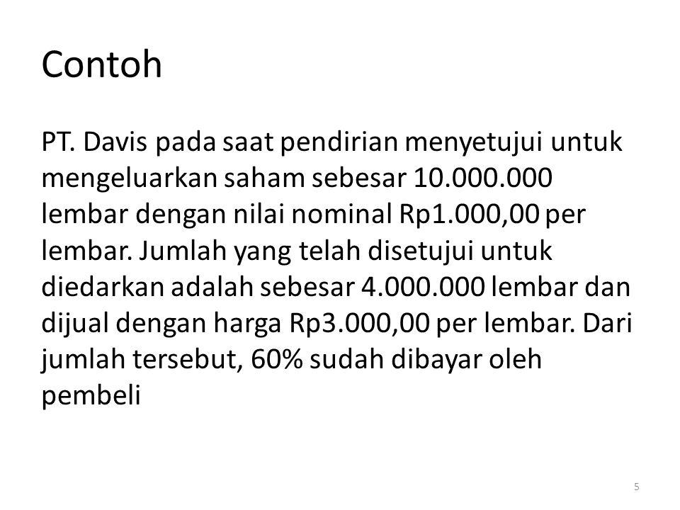 Contoh PT. Davis pada saat pendirian menyetujui untuk mengeluarkan saham sebesar 10.000.000 lembar dengan nilai nominal Rp1.000,00 per lembar. Jumlah