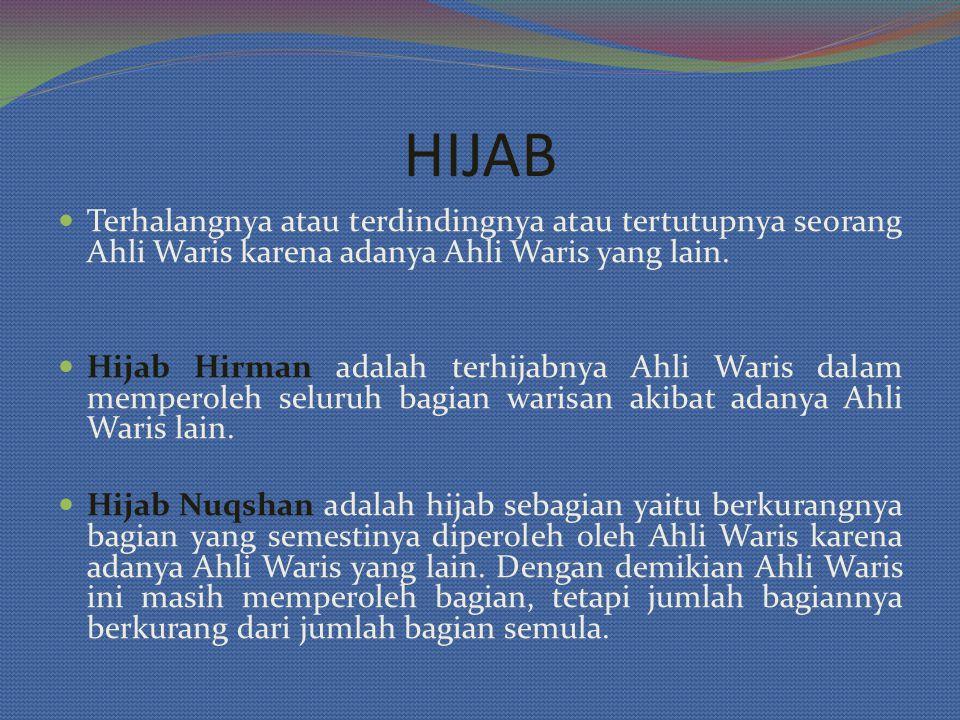 HIJAB Terhalangnya atau terdindingnya atau tertutupnya seorang Ahli Waris karena adanya Ahli Waris yang lain. Hijab Hirman adalah terhijabnya Ahli War