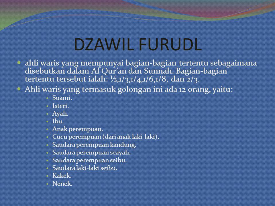 ahli waris yang mempunyai bagian-bagian tertentu sebagaimana disebutkan dalam Al Qur'an dan Sunnah. Bagian-bagian tertentu tersebut ialah: ½,1/3,1/4,1
