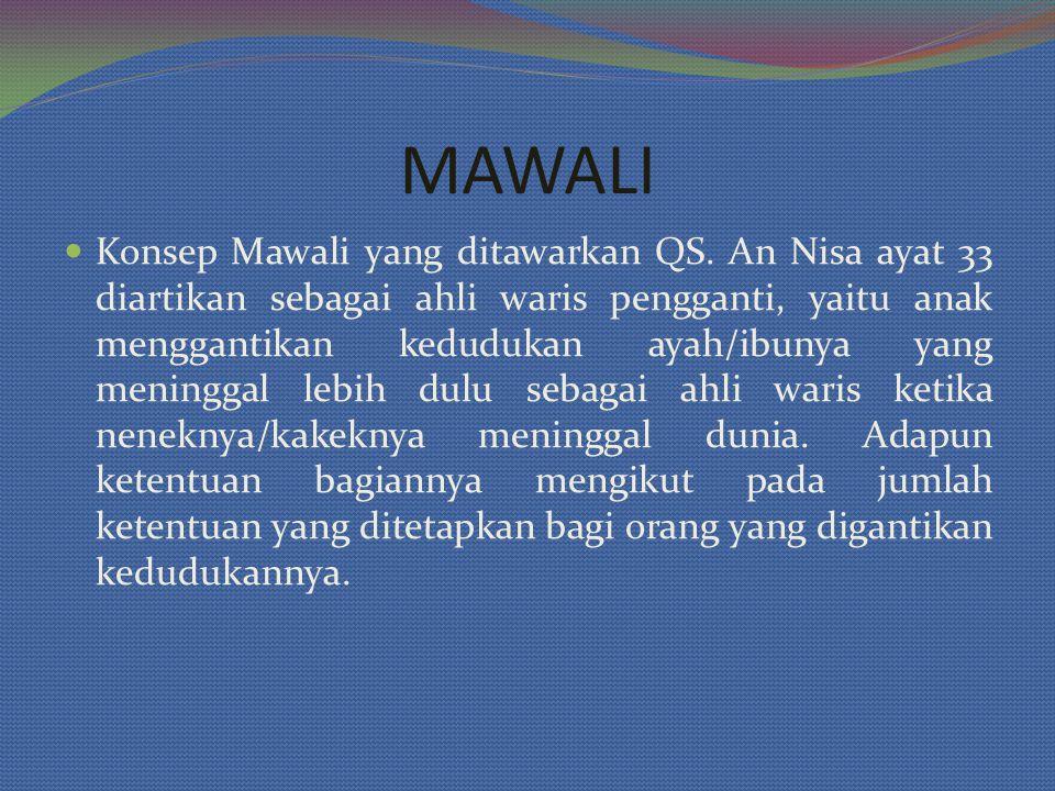 Konsep Mawali yang ditawarkan QS. An Nisa ayat 33 diartikan sebagai ahli waris pengganti, yaitu anak menggantikan kedudukan ayah/ibunya yang meninggal