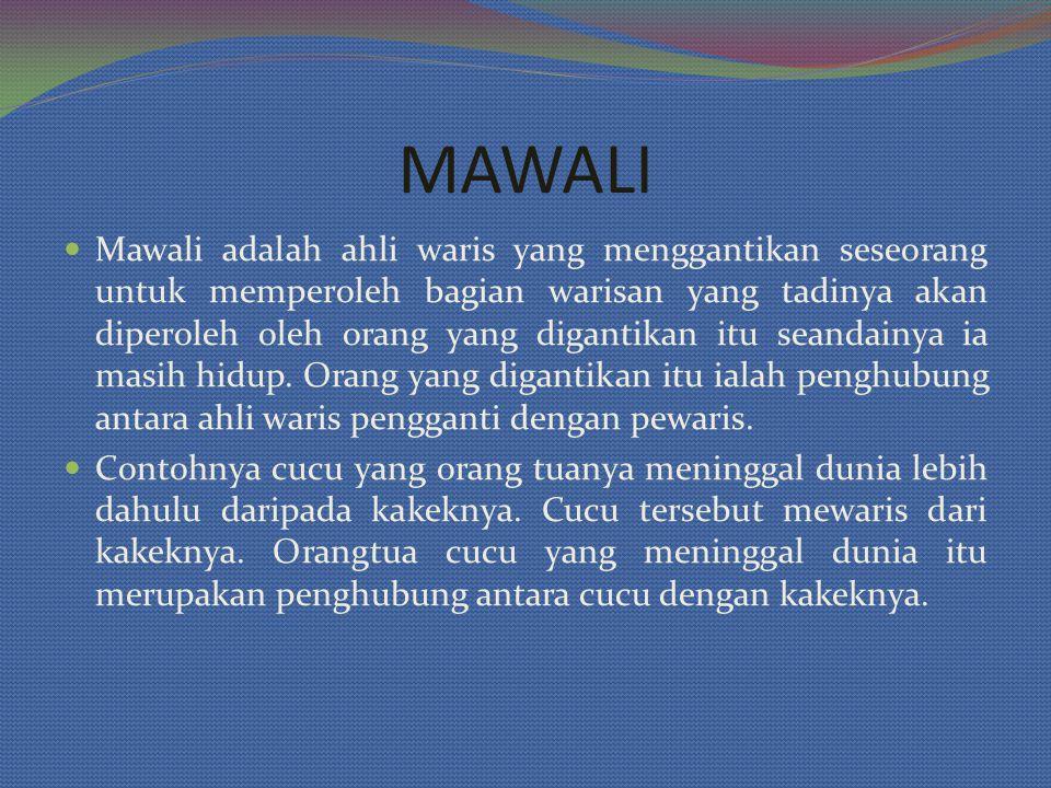 Mawali adalah ahli waris yang menggantikan seseorang untuk memperoleh bagian warisan yang tadinya akan diperoleh oleh orang yang digantikan itu seandainya ia masih hidup.