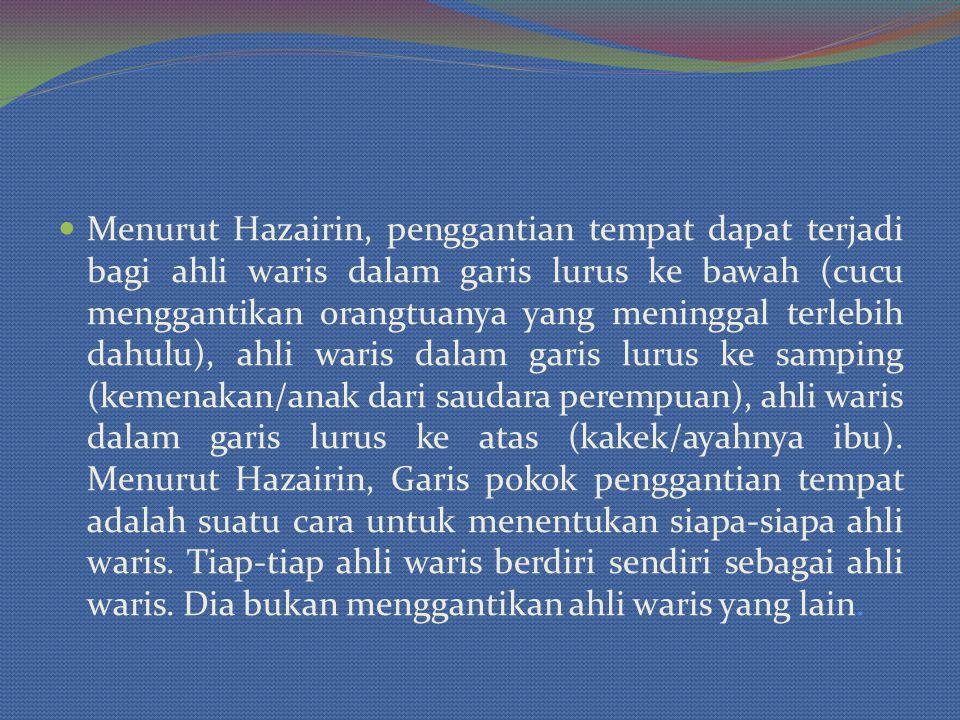Menurut Hazairin, penggantian tempat dapat terjadi bagi ahli waris dalam garis lurus ke bawah (cucu menggantikan orangtuanya yang meninggal terlebih d