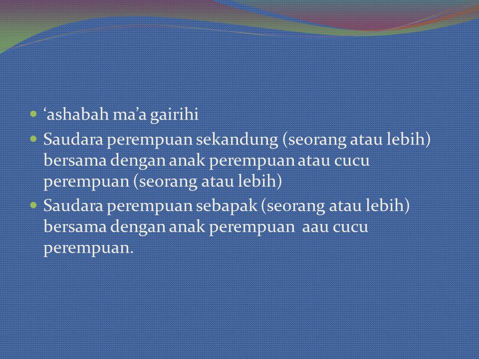 'ashabah ma'a gairihi Saudara perempuan sekandung (seorang atau lebih) bersama dengan anak perempuan atau cucu perempuan (seorang atau lebih) Saudara