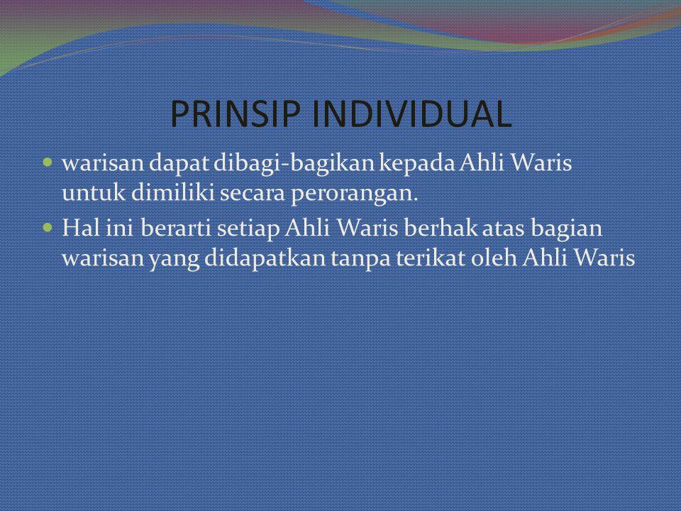 warisan dapat dibagi-bagikan kepada Ahli Waris untuk dimiliki secara perorangan.