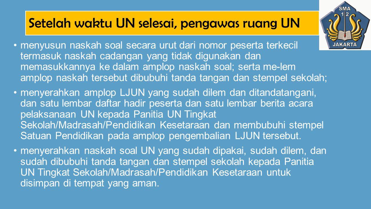Setelah waktu UN selesai, pengawas ruang UN menyusun naskah soal secara urut dari nomor peserta terkecil termasuk naskah cadangan yang tidak digunakan