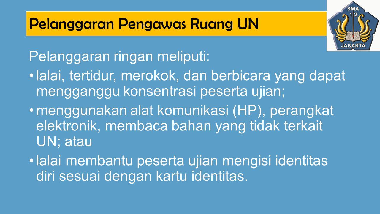 Pelanggaran Pengawas Ruang UN Pelanggaran ringan meliputi: lalai, tertidur, merokok, dan berbicara yang dapat mengganggu konsentrasi peserta ujian; me
