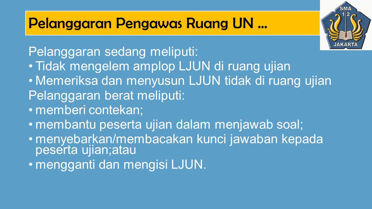 Pelanggaran Pengawas Ruang UN... Pelanggaran sedang meliputi: Tidak mengelem amplop LJUN di ruang ujian Memeriksa dan menyusun LJUN tidak di ruang uji