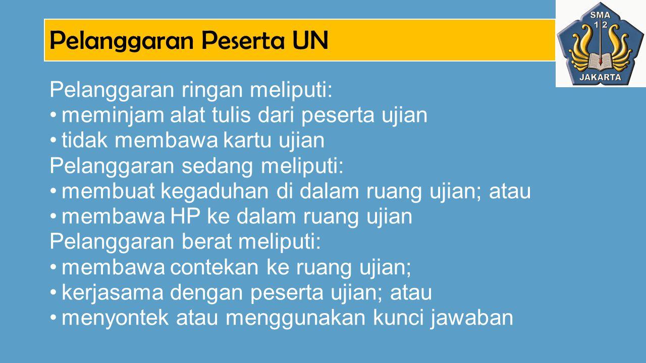 Pelanggaran Peserta UN Pelanggaran ringan meliputi: meminjam alat tulis dari peserta ujian tidak membawa kartu ujian Pelanggaran sedang meliputi: memb