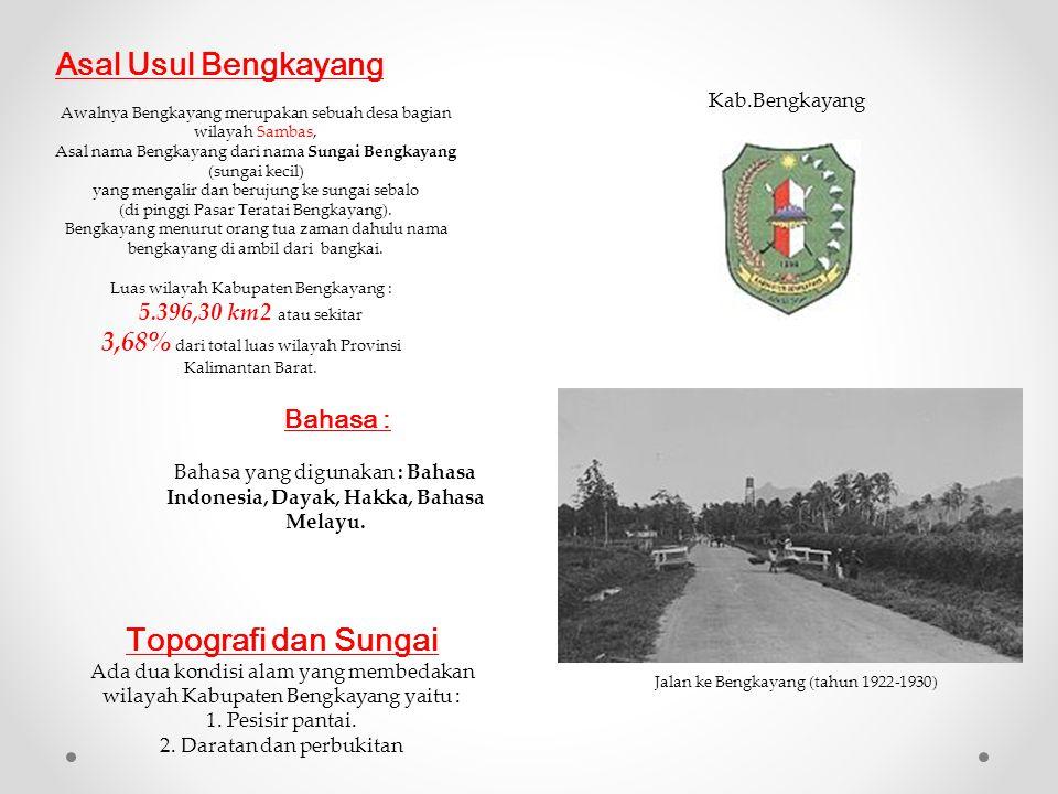 Asal Usul Bengkayang Awalnya Bengkayang merupakan sebuah desa bagian wilayah Sambas, Asal nama Bengkayang dari nama Sungai Bengkayang (sungai kecil) y