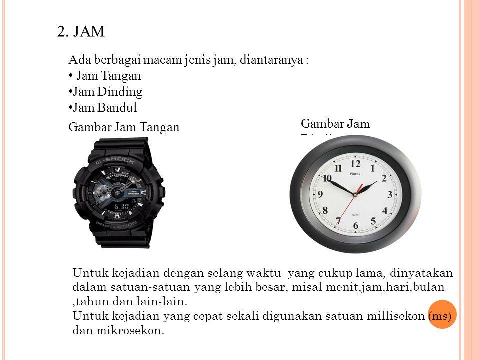 2. JAM Ada berbagai macam jenis jam, diantaranya : Jam Tangan Jam Dinding Jam Bandul Gambar Jam Tangan Gambar Jam Dinding Untuk kejadian dengan selang