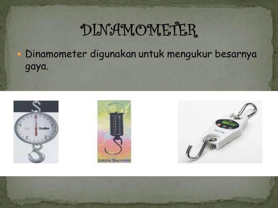Dinamometer digunakan untuk mengukur besarnya gaya.