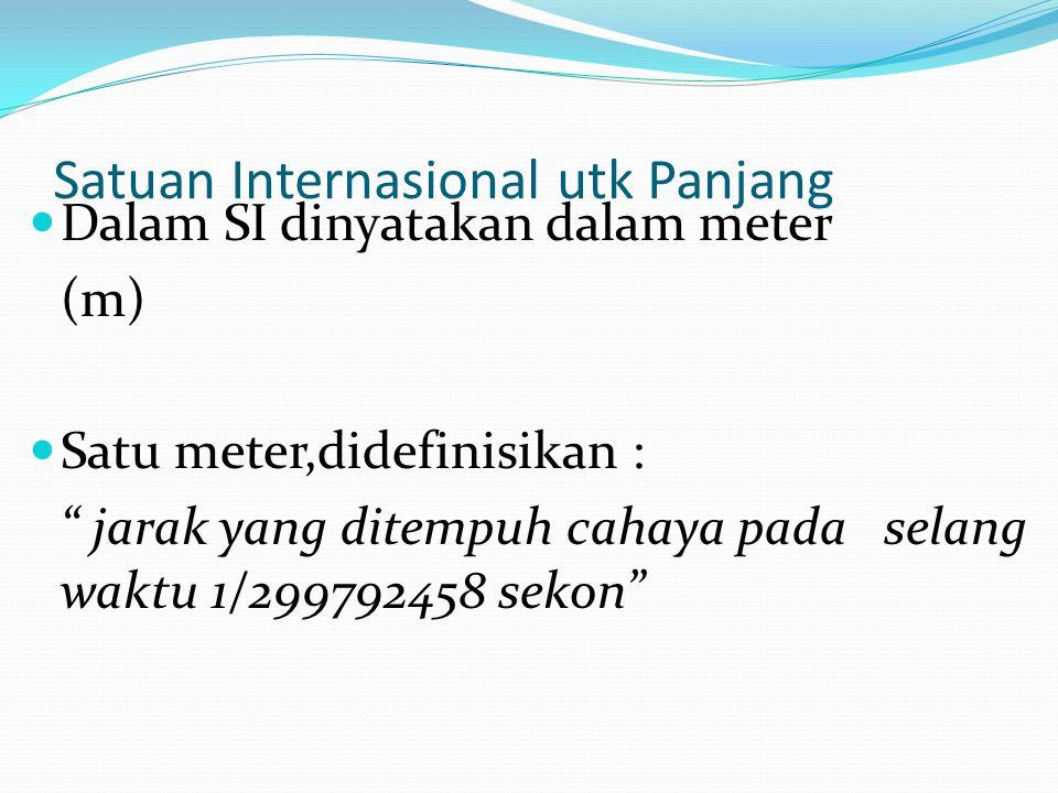 Satuan Internasional utk Panjang Dalam SI dinyatakan dalam meter (m) Satu meter,didefinisikan : jarak yang ditempuh cahaya pada selang waktu 1/299792458 sekon