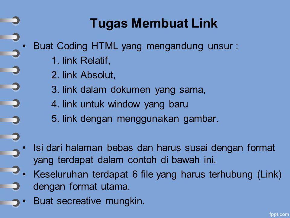 Tugas Membuat Link Buat Coding HTML yang mengandung unsur : 1. link Relatif, 2. link Absolut, 3. link dalam dokumen yang sama, 4. link untuk window ya