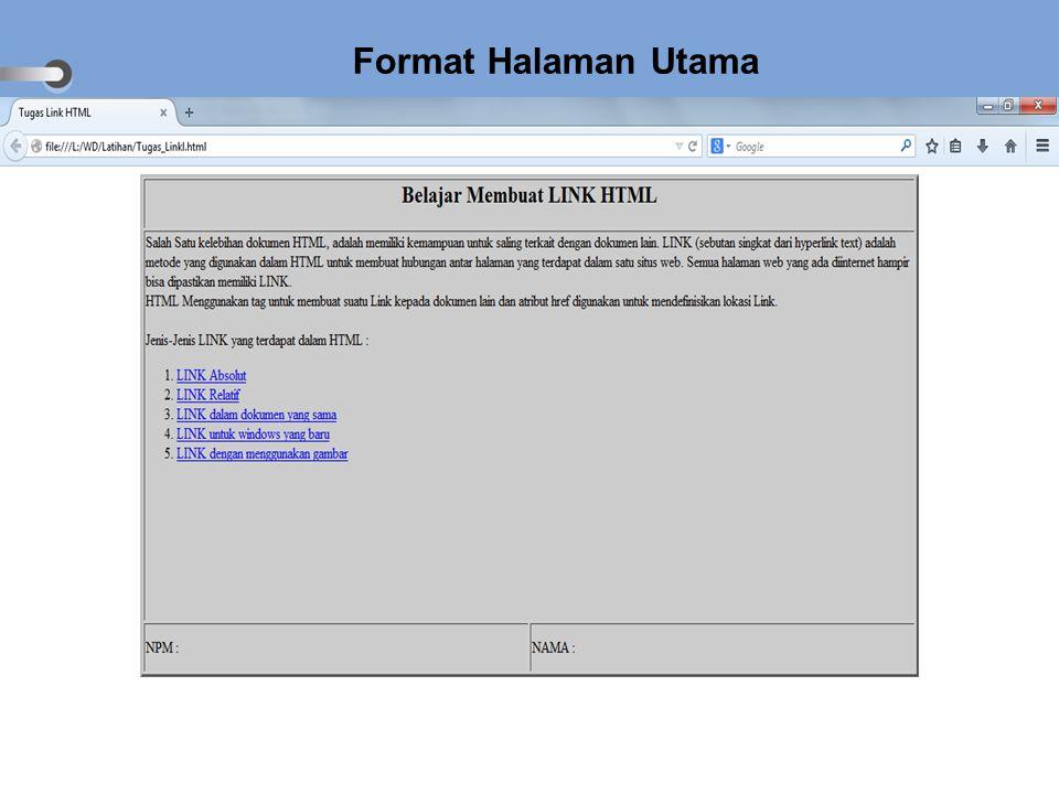 Format Halaman Utama
