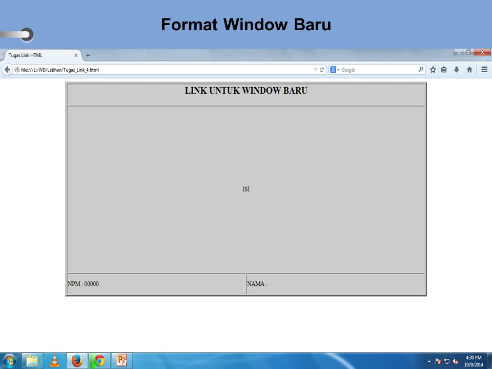 Format Window Baru