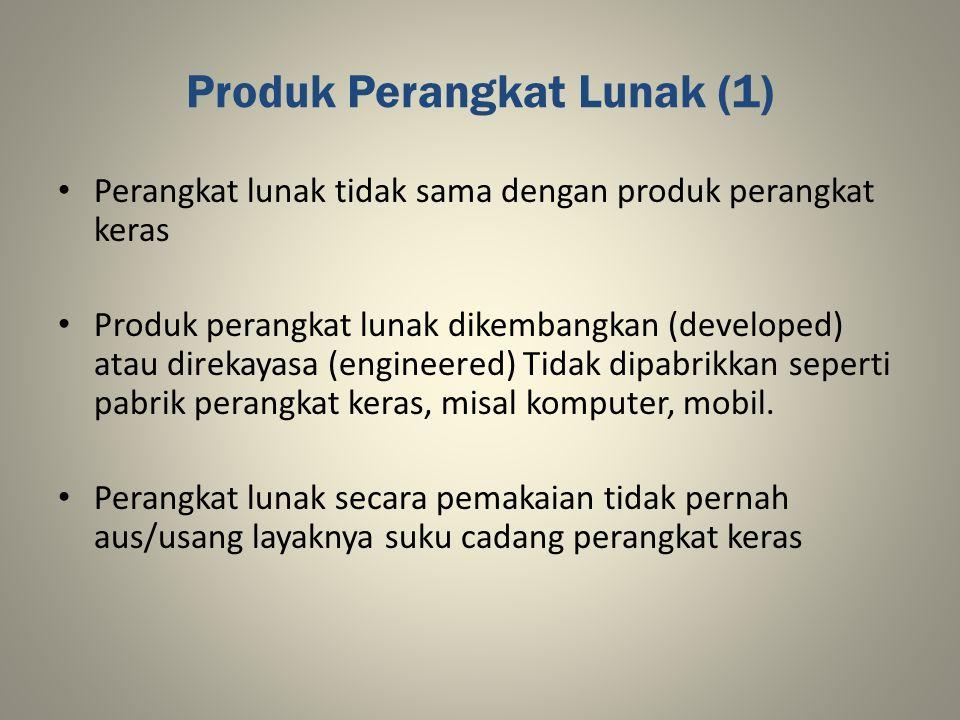 Produk Perangkat Lunak (1) Perangkat lunak tidak sama dengan produk perangkat keras Produk perangkat lunak dikembangkan (developed) atau direkayasa (e