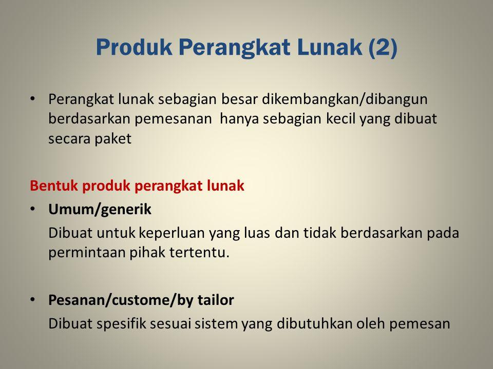 Produk Perangkat Lunak (2) Perangkat lunak sebagian besar dikembangkan/dibangun berdasarkan pemesanan hanya sebagian kecil yang dibuat secara paket Be
