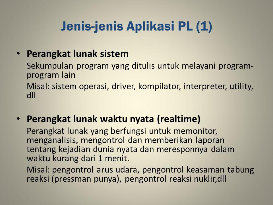 Jenis-jenis Aplikasi PL (1) Perangkat lunak sistem Sekumpulan program yang ditulis untuk melayani program- program lain Misal: sistem operasi, driver,