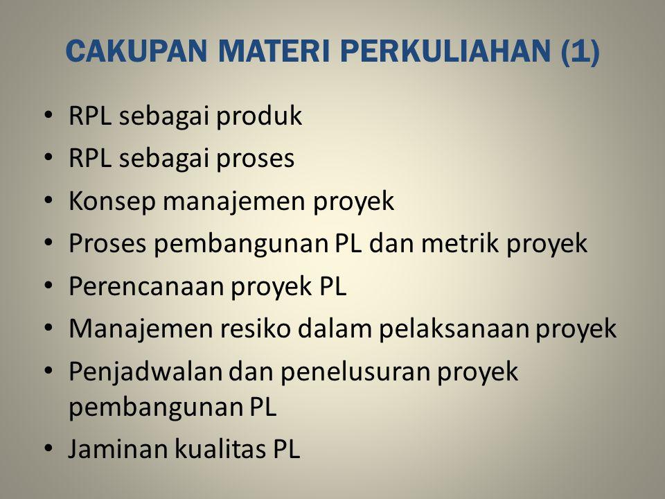 CAKUPAN MATERI PERKULIAHAN (1) RPL sebagai produk RPL sebagai proses Konsep manajemen proyek Proses pembangunan PL dan metrik proyek Perencanaan proye