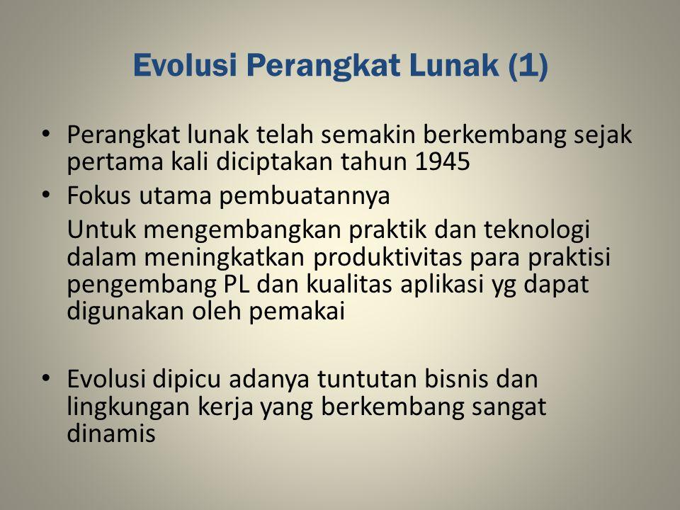 Evolusi Perangkat Lunak (2) Era I (1945 – 1960): - Munculnya teknologi perangkat keras di tahap awal - Penggunaan perangkat lunak yg berorientasi batch - Distribusi perangkat lunak masih terbatas - Didominasi perangkat lunak model custome - Munculnya istilah software engineering (akhir 1950- an/awal 1960-an) - Belum didefinisikan secara jelas tentang aspek software engineering