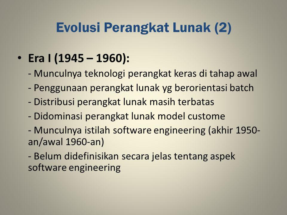 Evolusi Perangkat Lunak (2) Era I (1945 – 1960): - Munculnya teknologi perangkat keras di tahap awal - Penggunaan perangkat lunak yg berorientasi batc