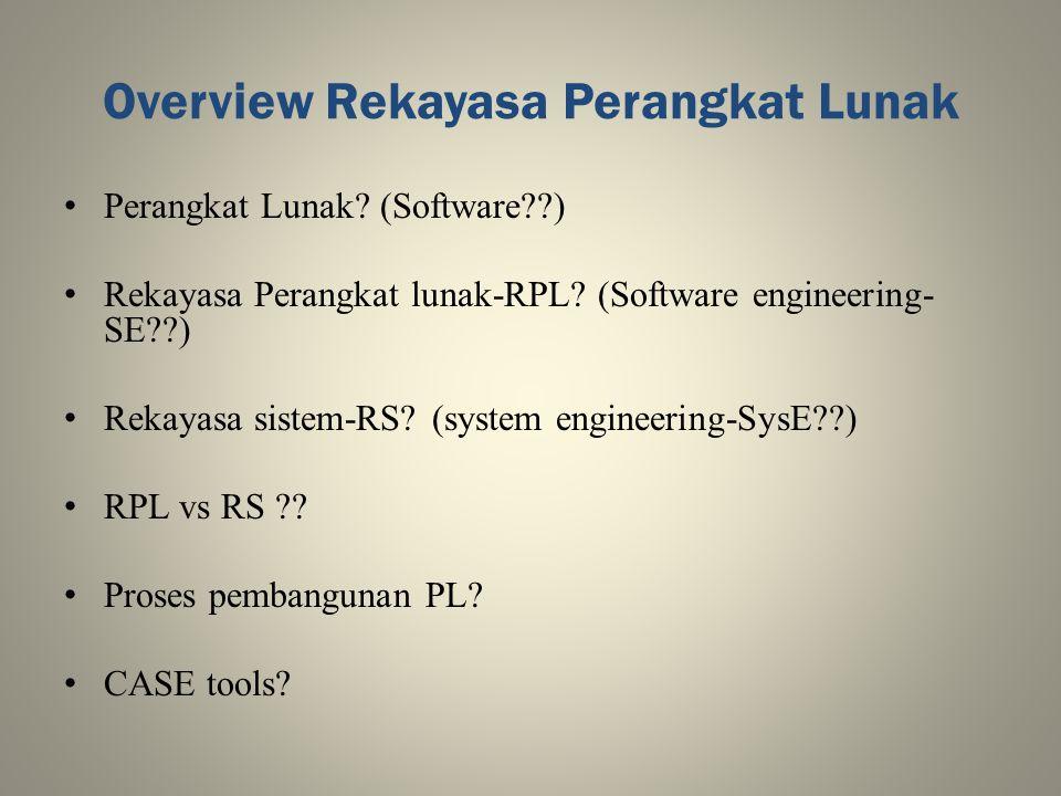 Overview Rekayasa Perangkat Lunak Perangkat Lunak? (Software??) Rekayasa Perangkat lunak-RPL? (Software engineering- SE??) Rekayasa sistem-RS? (system